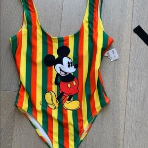 Forever 21 Mickey Mouse striped swimsuit s